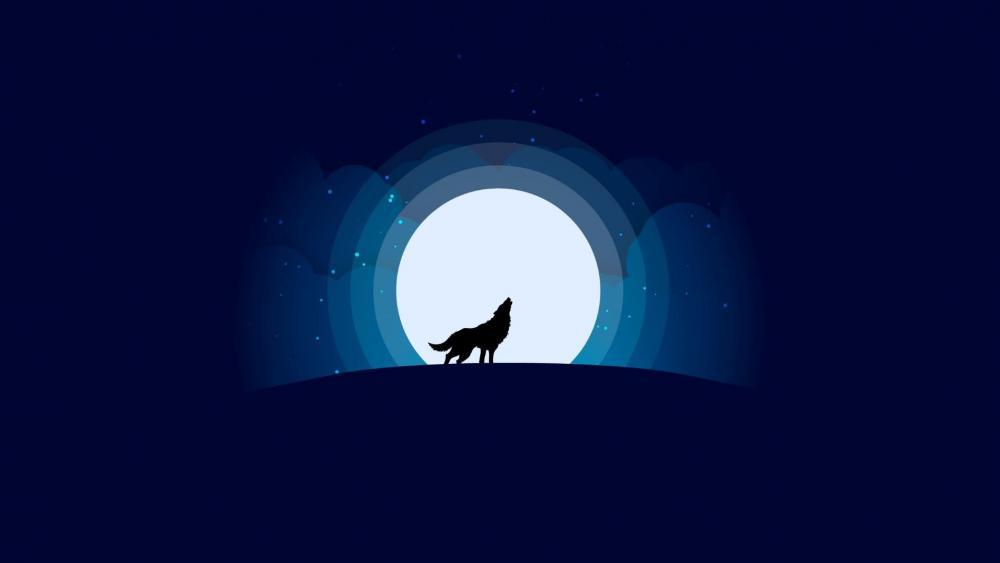 Wolf with full moon - minimalist design wallpaper