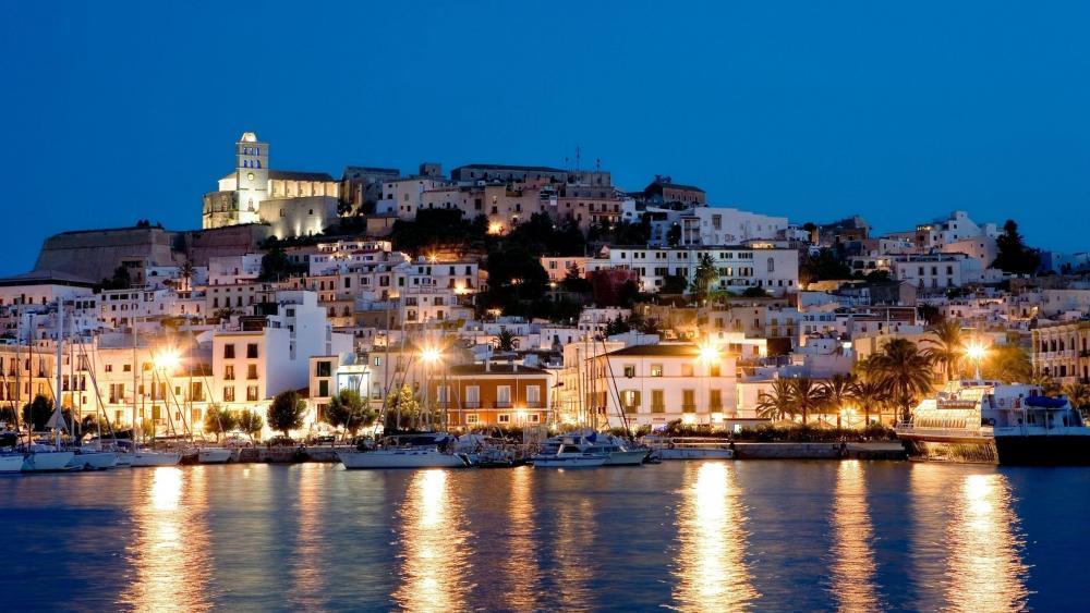 Ibiza Town at night, Ibiza, Spain wallpaper