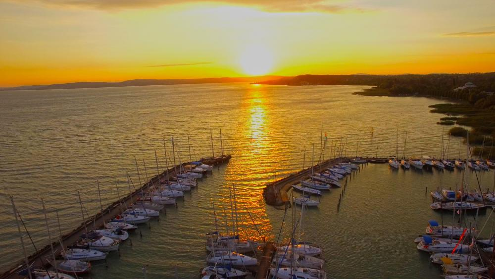 Sunset over the Lake Balaton - Hungary  wallpaper