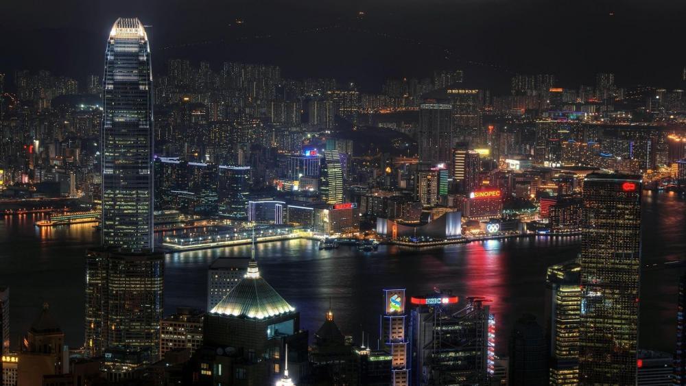 Victoria Harbour at night, Hong Kong wallpaper
