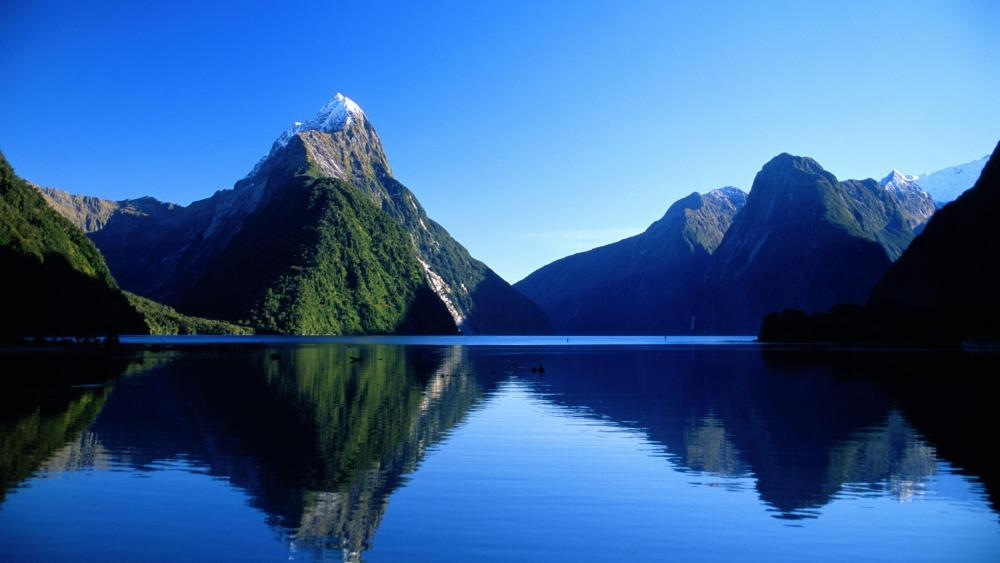 Mitre Peak in Milford Sound, Fiordland National Park, New Zealand wallpaper