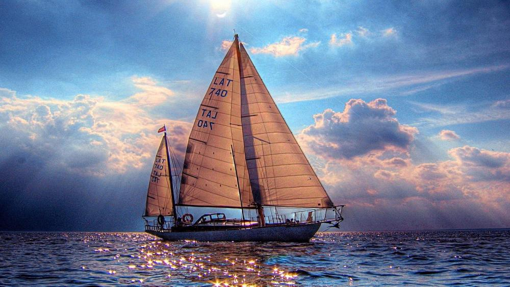 Sailboat on the sparkling water ⛵️ wallpaper