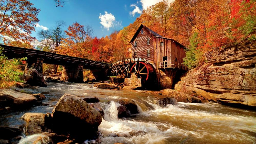 Water mill in the autumn forest wallpaper