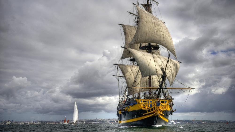 Etoile du roy ship - French three mast sailing ship wallpaper