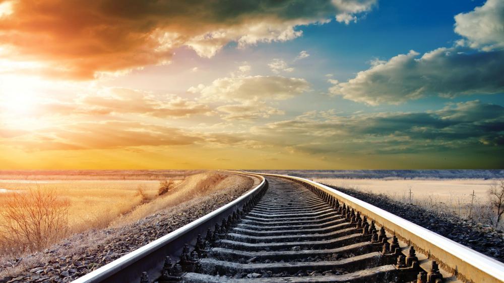 Endless train tracks in the prairie wallpaper