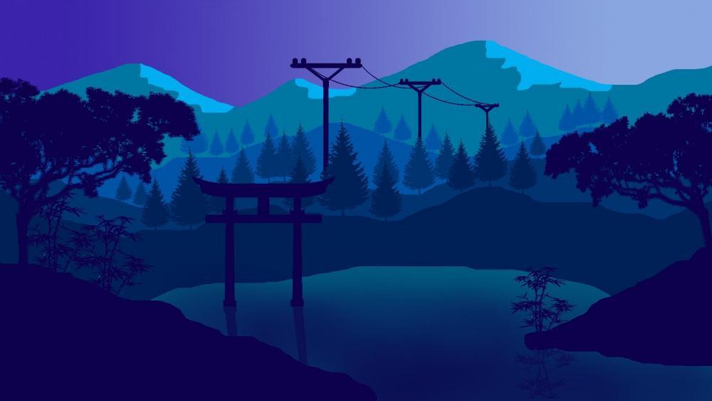 Japan landscape - flat design wallpaper