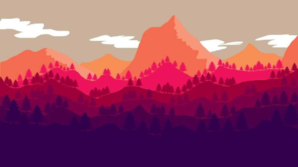 Mount scenery - flat design wallpaper