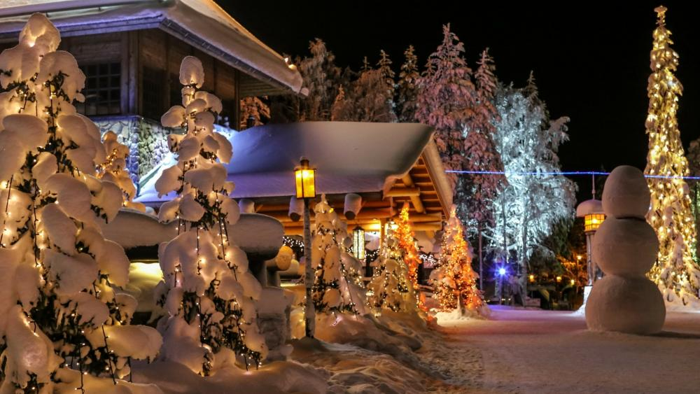 Snowy Christmas garden wallpaper