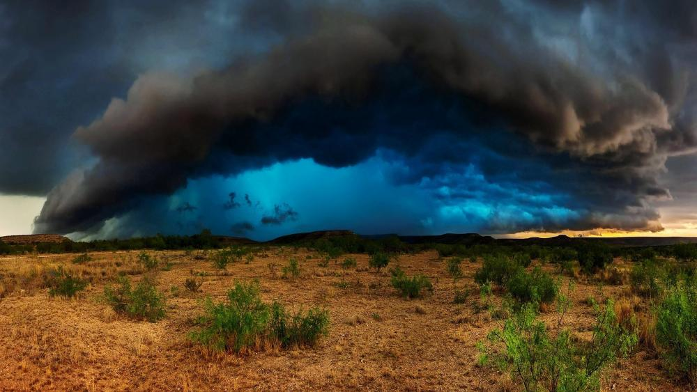 Storm over the dry field wallpaper