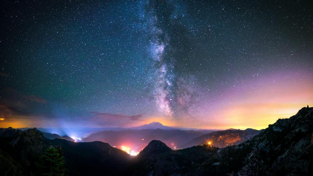 Milky way over the mountain range - Snoqualmie Pass, Washington, USA wallpaper