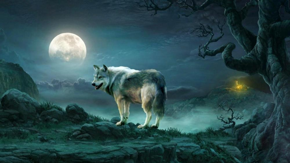 Wolf under the full moon - Fantasy art wallpaper