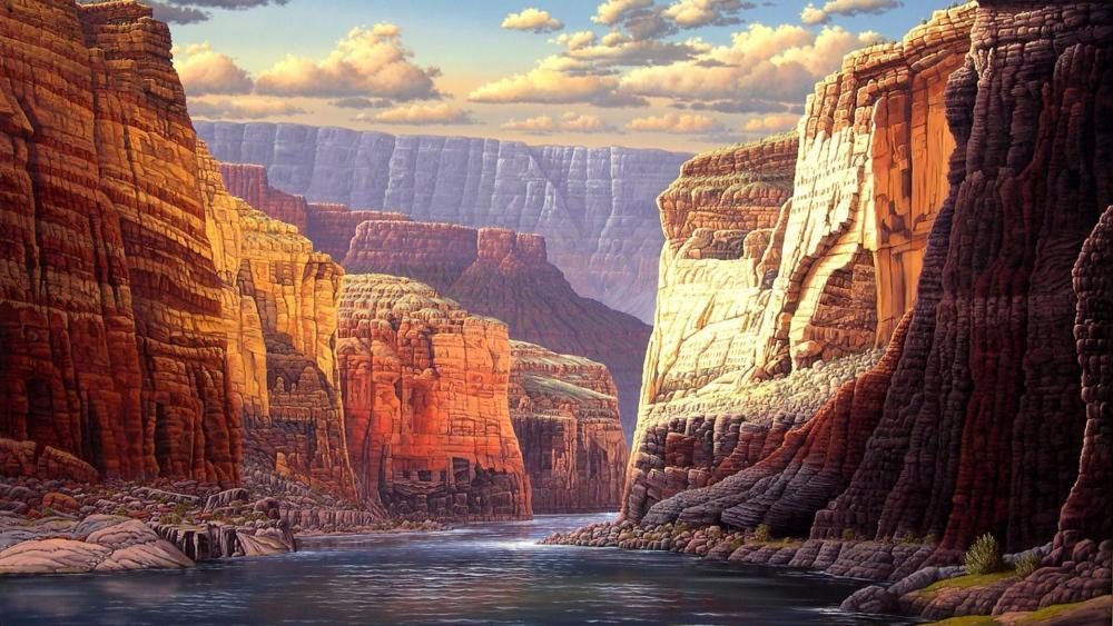 Grand Canyon painting artwork wallpaper
