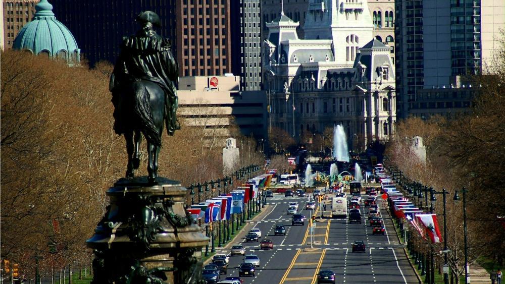 Philadelphia street view wallpaper