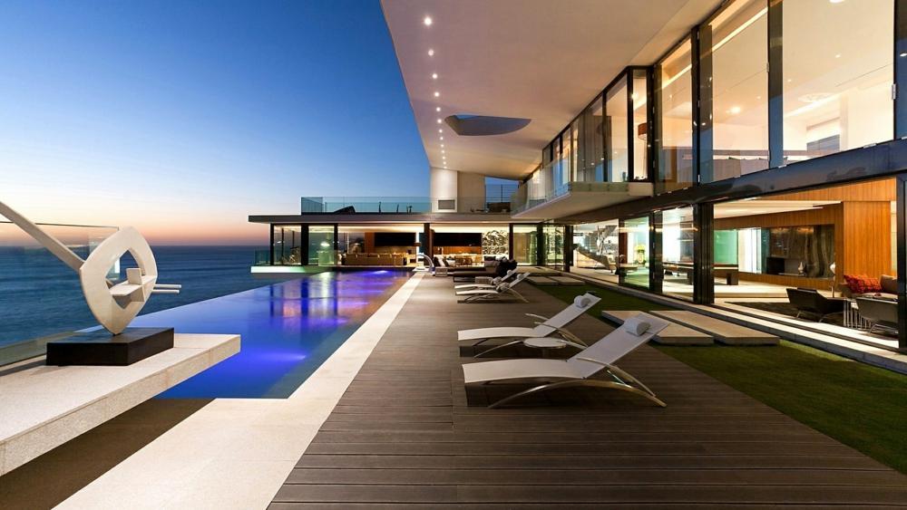 Dream resort with sea view wallpaper