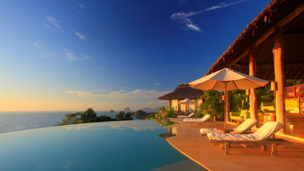 Stretch ceiling swimming pool with Andaman Sea view -  Phuket, Thailand wallpaper