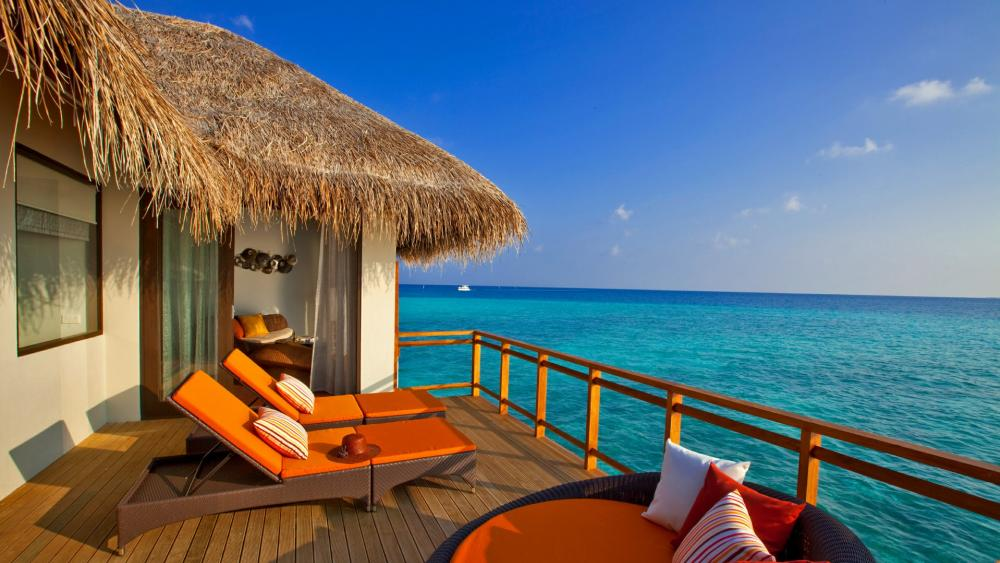 Ocean view from the terrace in Maldives wallpaper