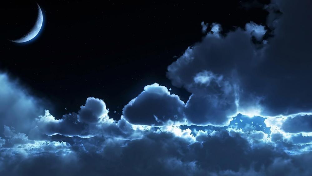 Big fluffy clouds in the dark night ☁️☁️ wallpaper