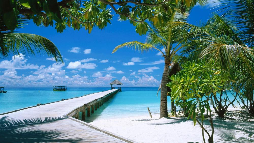 Long pier over the blue ocean in Maldives wallpaper