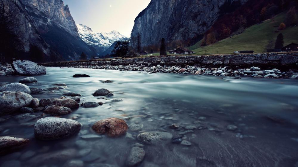 Stream in the Swiss Alps wallpaper