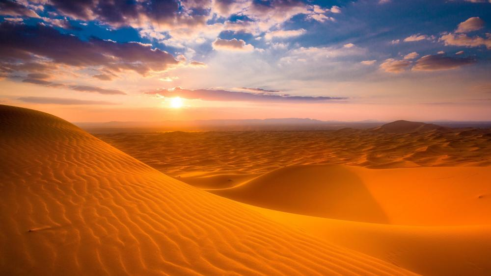 Sahara Desert sunrise, Morocco wallpaper