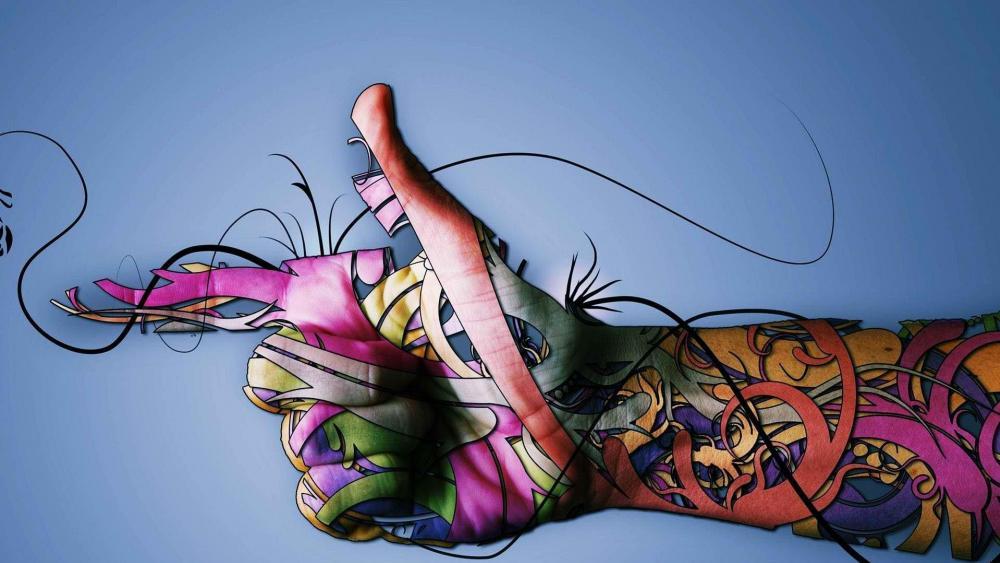Colorful tattoo design wallpaper