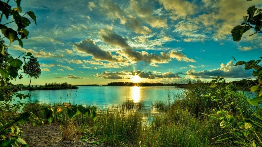 Morning sunlight over the lake  wallpaper