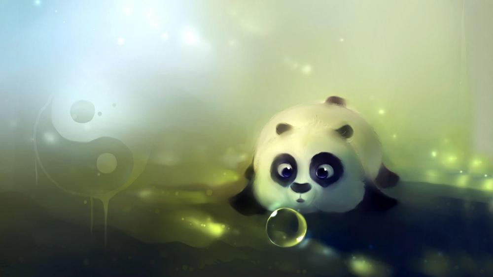 Bubbles blowing sweet panda wallpaper