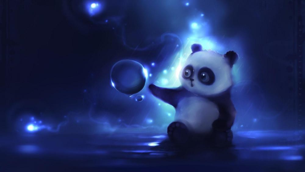 Panda bluish artwork wallpaper