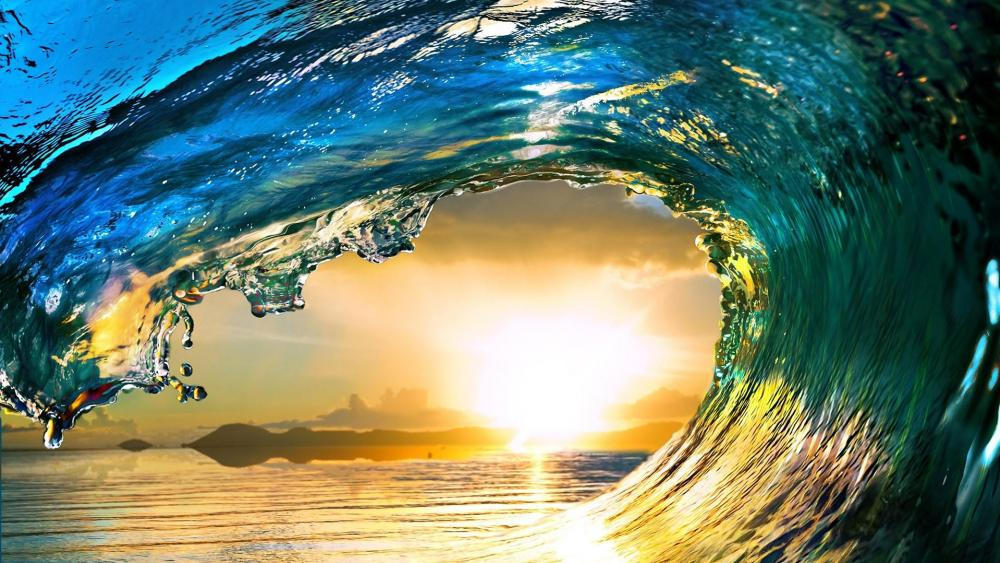 Ocean wave at dawn wallpaper