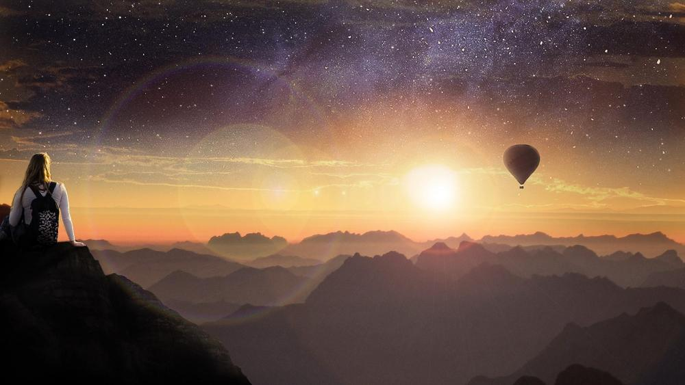 A small air balloon in space sky - Fantasy art wallpaper