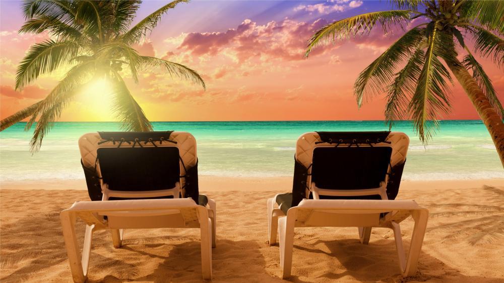 Bavaro beach sunset - Dominican Republic wallpaper