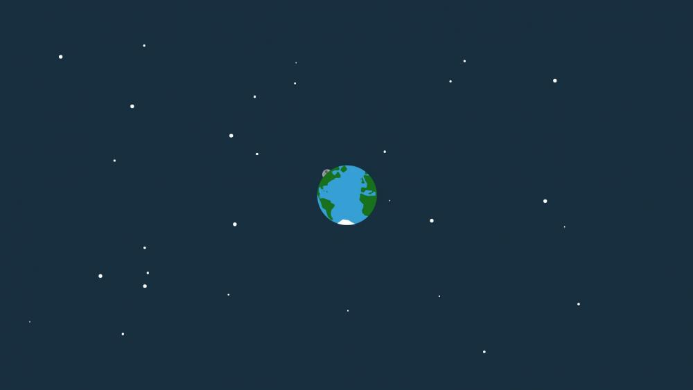 Earth in the space - Flat design wallpaper