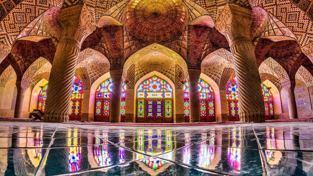 Kaleidoscopic windows of the Nasir-ol-Molk Mosque, Iran wallpaper
