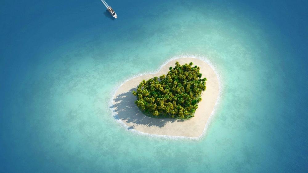 Heart of the sea –  Tavarua – Tiny Heart Shaped Island in Fiji wallpaper