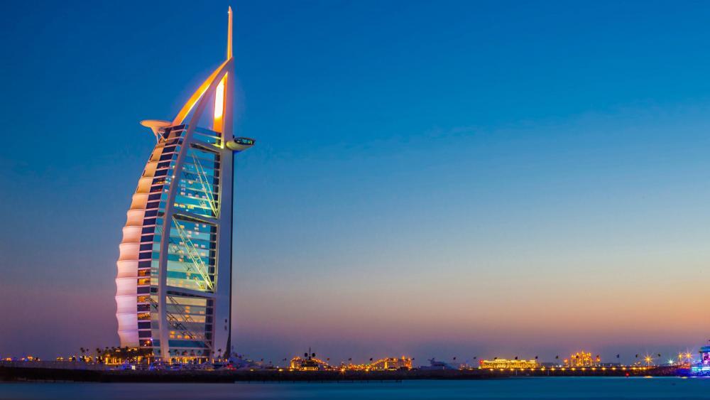 Burj Al Arab at night, Dubai wallpaper