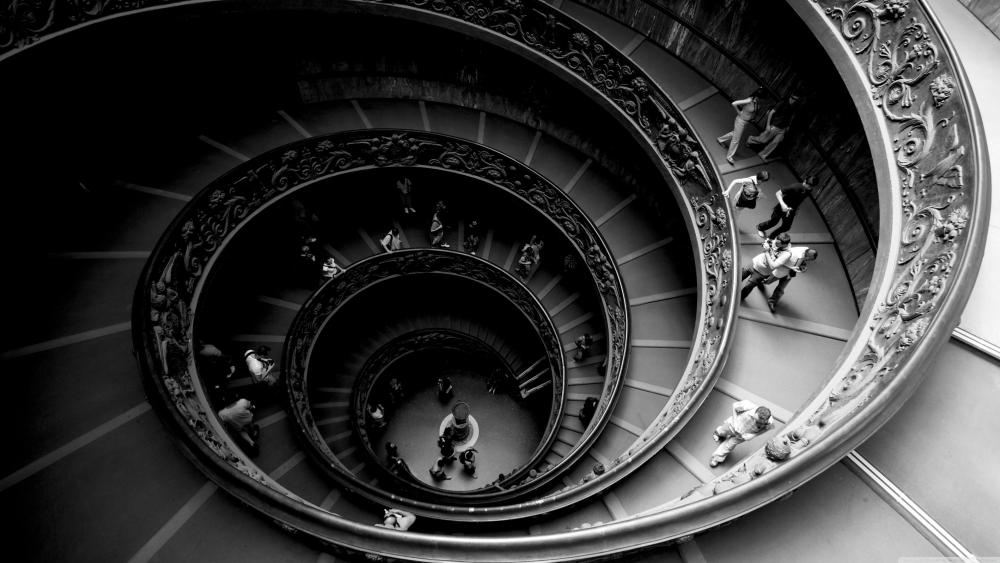 The famous double spiral staircase at the Vatican Museums - Monochrome photography wallpaper