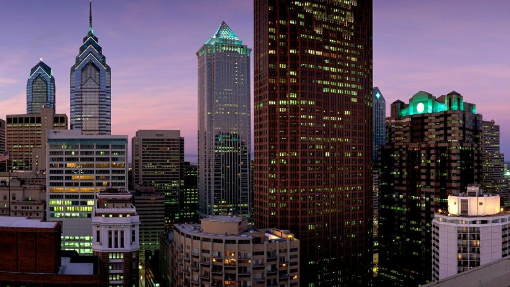 Philadelphia evening cityscape - Pennsylvania, United States wallpaper