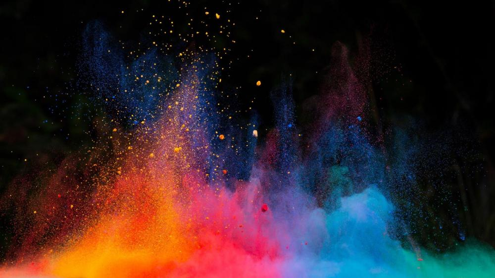 Multicolor dust explosion wallpaper