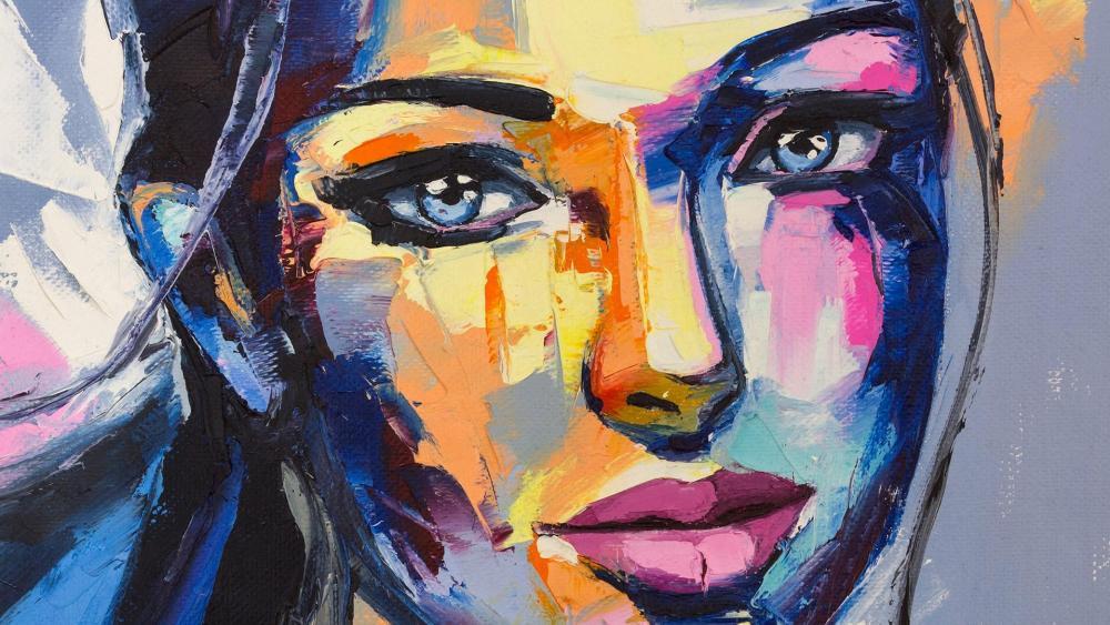 Woman portrait - Painting art wallpaper