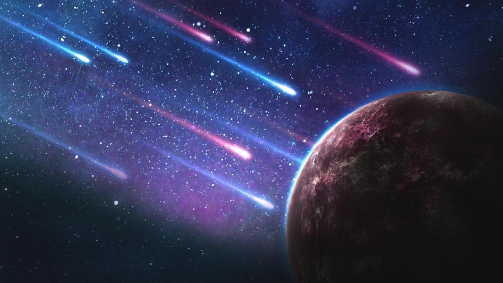 Meteor impact - Space art wallpaper