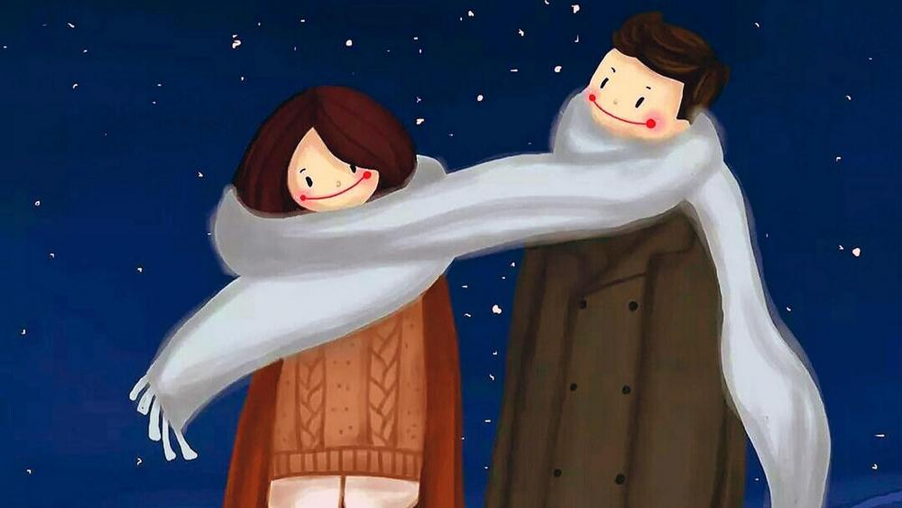 Scarf joined couple wallpaper
