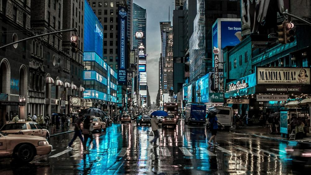 Rainy day in New York City wallpaper