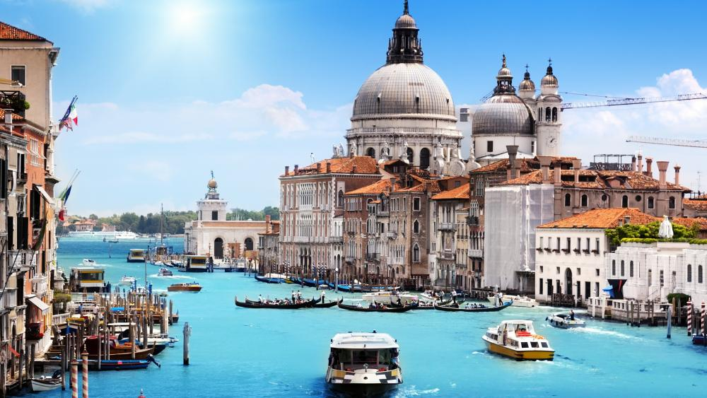 Santa Maria della Salute panorama from Grand Canal wallpaper