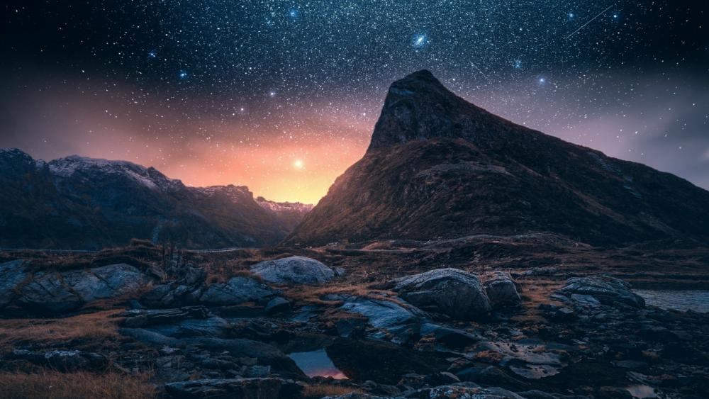 Starry night on Iceland wallpaper