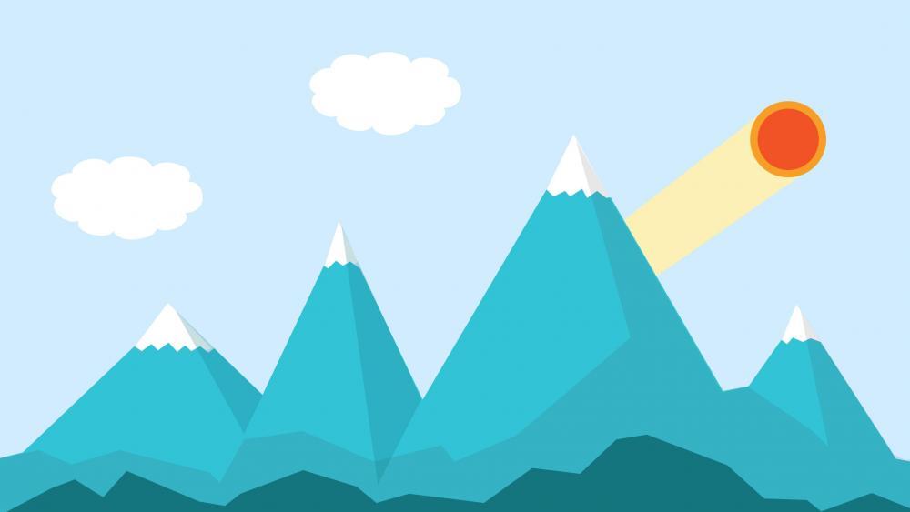 Material Design Mountains landscape wallpaper