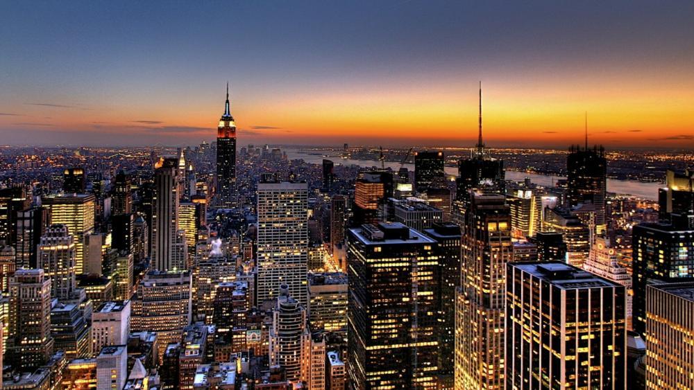 New York City skyscrapers at night wallpaper