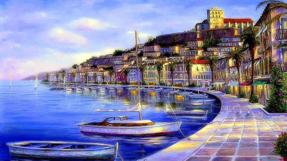 Ibiza promenade - Painting art wallpaper