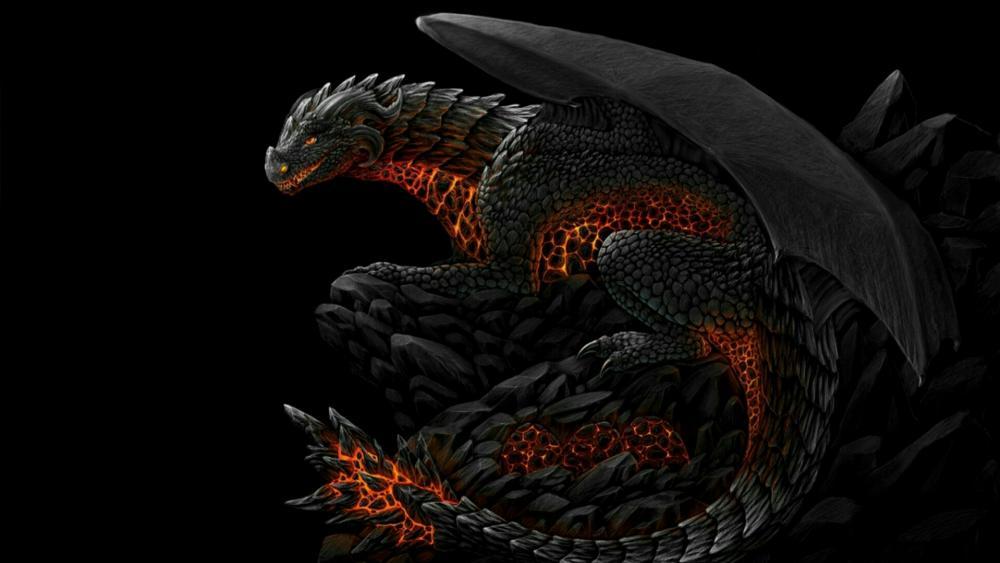 Black stone dragon wallpaper