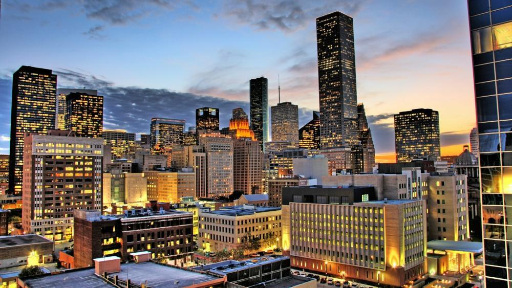 Houston skyline at morning wallpaper