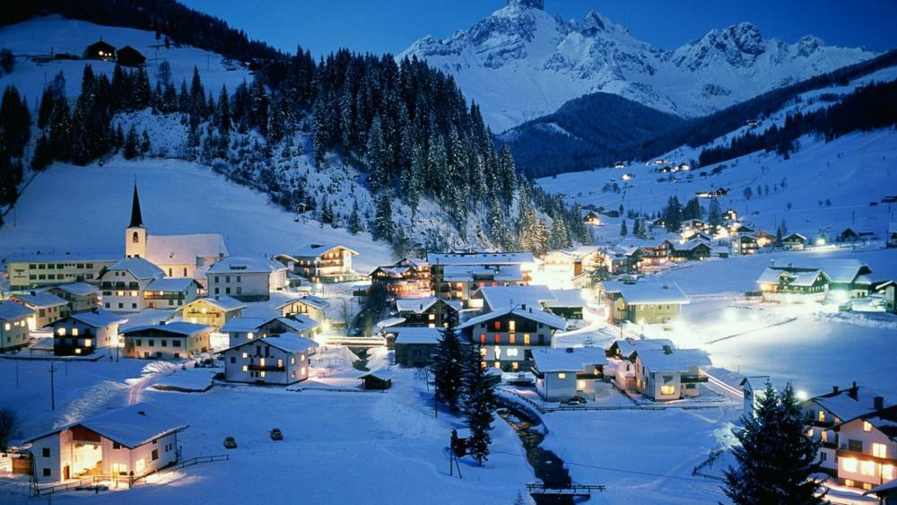 Snowy mountain villlage in the Alps - Filzmoos, Austria wallpaper